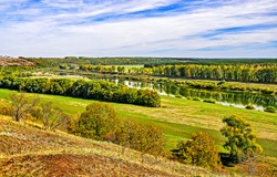 River bank in the river valley. Riverbank landscape. River valley panorama