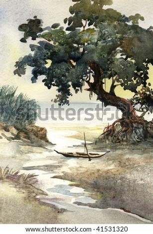 river bank watercolor