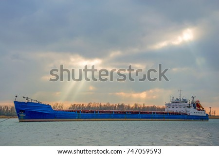 River barge on water