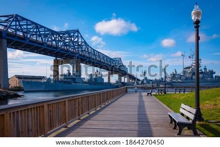 River Boardwalk with View of Braga Bridge at Heritage State Park in Fall River, Massachusetts Stock fotó ©