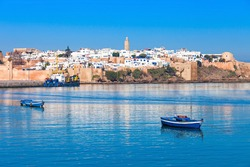 River Bou Regreg seafront and Kasbah in medina of Rabat, Morocco. Rabat is the capital of Morocco. Rabat is located on the Atlantic Ocean at the mouth of the river Bou Regreg.