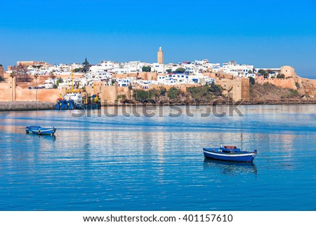 River Bou Regreg seafront and Kasbah in medina of Rabat, Morocco. Rabat is the capital of Morocco. Rabat is located on the Atlantic Ocean at the mouth of the river Bou Regreg. #401157610
