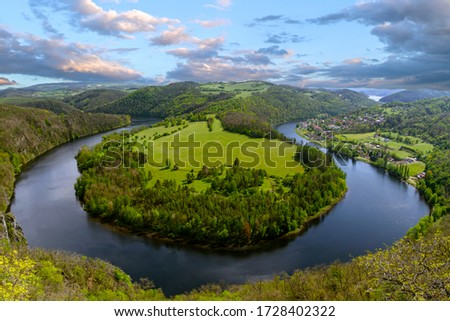 River canyon Vltava.  Horseshoe bend, Vltava river, Czech republic. Beautiful landscape with river. Solenice lookout.Tourism in Czech republic.  Outdoor and nature. Europe. Stock photo ©