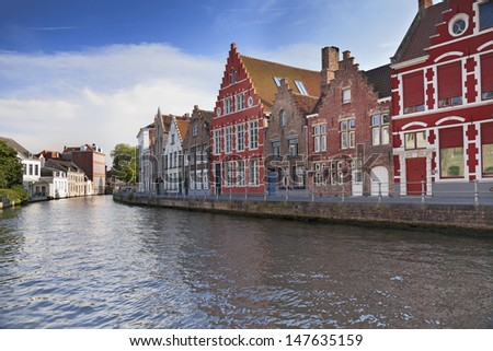 River channel and buildings in Bruges, Belgium