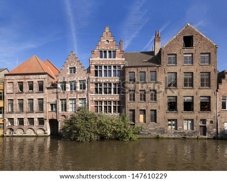 River channel and buildings in Gent, Belgium