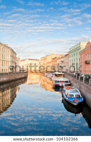 River channel with boats in Saint-Petersburg. Spring. Early morning.