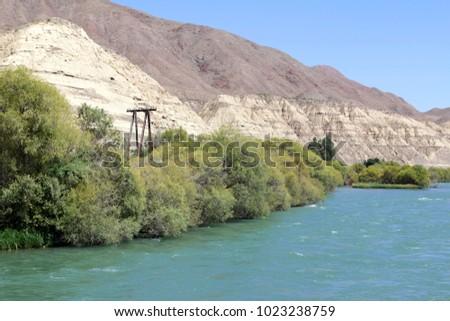 River Chuy at Tokmak, Kyrgyzstan Stok fotoğraf ©