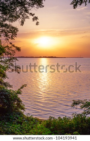 river coast. sunset