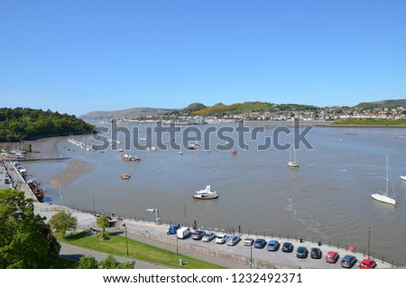River Conway and harbour of Medieval city, North Wales, UK