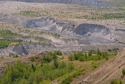 River Cutting Through the Pyroclastic Flow of a Volcano at Mt St Helens National Volcanic Area in Washington
