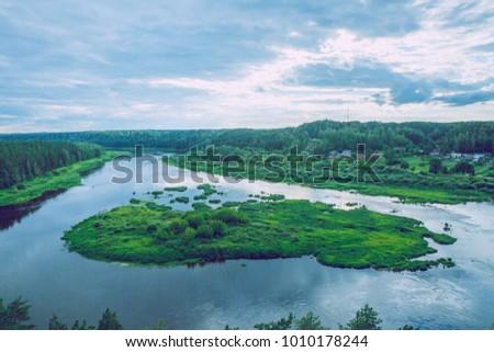 River Daugava at Latvia, city Kraslava. 2016