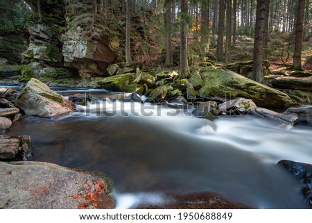 River Divoka Orlice, autumn nature nearby the Zemska Brana nature reservation in valley of Orlicke mountains. Amazing nature with stones, trees and fallen leaves.Eastern Bohemia, Czech Republic Stock photo ©