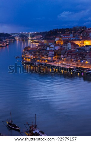 river Douro and old town of Porto, Portugal at sunset