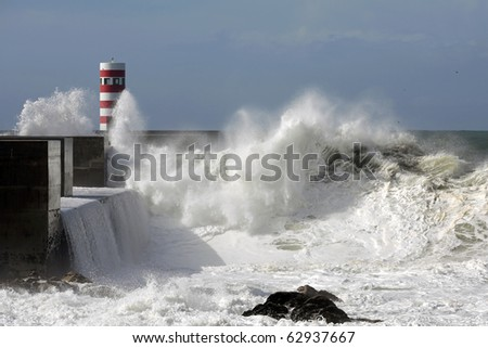 River Douro mouth in a stormy morning