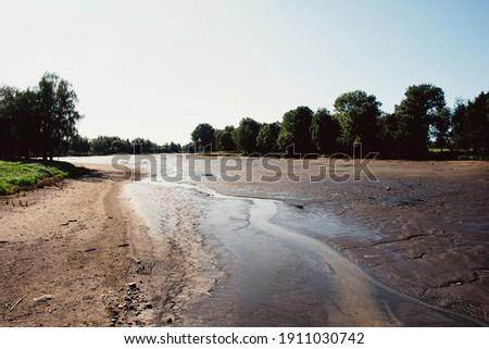river dries up landscape view