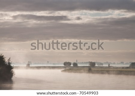 River Eem in holland shrouded in mist