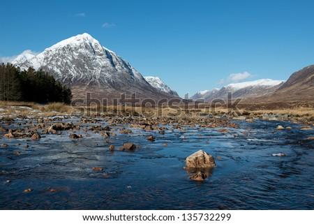 River Etive looking towards Buachaille Etive Mor, Glencoe, Scotland