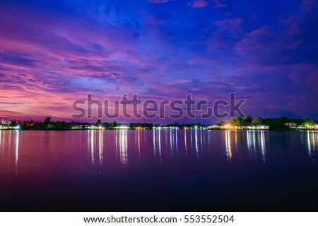 River evening at Suratthani in Thailand #553552504