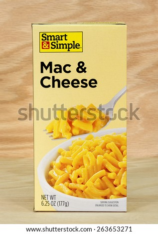 RIVER FALLS,WISCONSIN-MARCH 24,2015: A box of Smart and Simple macaroni and cheese. Smart and Simple products are distributed by Dolgencorp LLC of Goodlettsville,Tennessee.