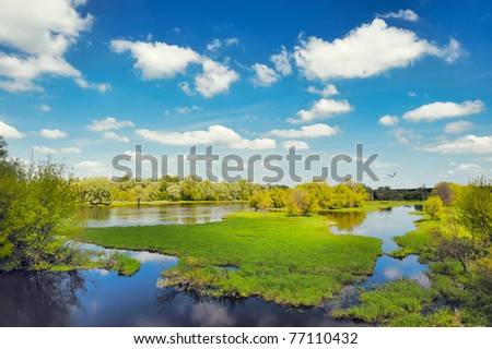 River flood waters background, Narew, Poland