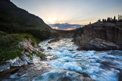 River flow at sunset near Swift Current Lake, Glacier National Park
