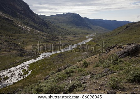 River flowing through arctic tundra, Greenland