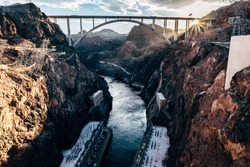 River flowing through Hoover Dam