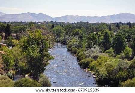 Shutterstock River flowing through Reno, Nevada.