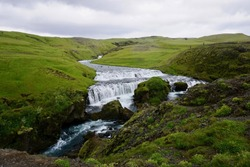 River Flowing to Skogafoss Waterfall in Iceland