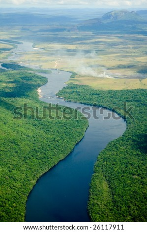 River flowing to the horizon in Venezuela.