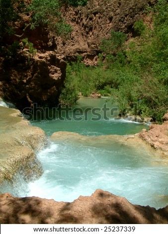 River from Havasupai falls in grand Canyon
