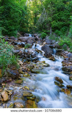 River going through the rocks in Bruce Peninsula, trail in the forest - stock photo