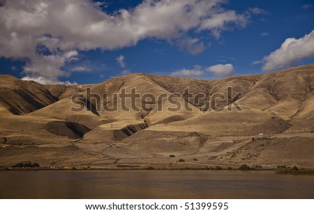 River gorge, blue sky and clouds landscape.