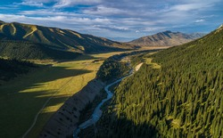 river in a mountain gorge, aerial photography
