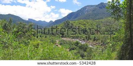 River in a tropical jungle with high mounts - Andapa - Marojejy park - Madagascar - Panoramique.