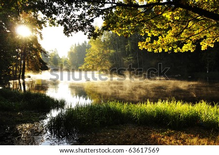 River in autumn at sunrise