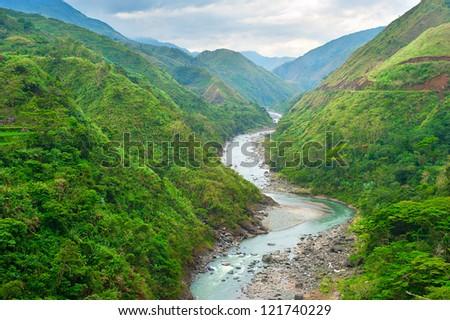 River in Cordillera mountains, Philippines - stock photo