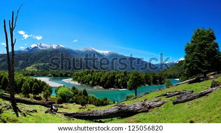 River in Patagonia, El Pangue, Chile, South America