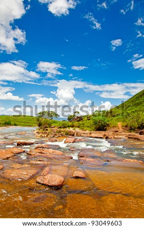 river in the mountains with blue sky, Venezuela