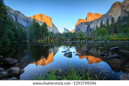 River in the valley of the Yosemite National Park in Sierra Nevada