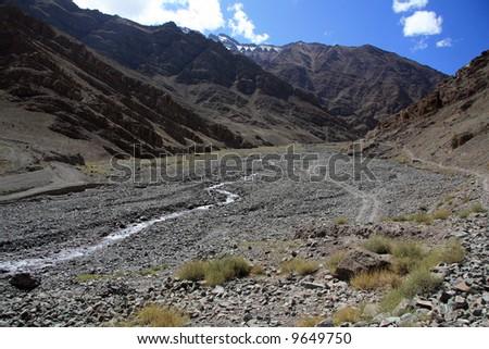 River in Valley, Mountain Climb- Stok Kangri (6,150m / 20,080ft), India