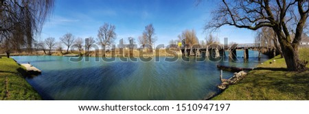 River Krka in Slovenia. Bridge over a river. Autumn. Panorama of river Krka in  town Kostanjevica na Krki. Picture was taken on 19th of November 2018. Stock photo ©