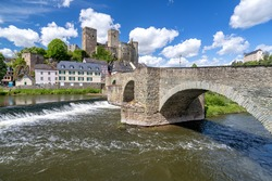 river Lahn in Runkel, Germany with old stone bridge and castle
