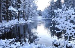 River landscape in winter