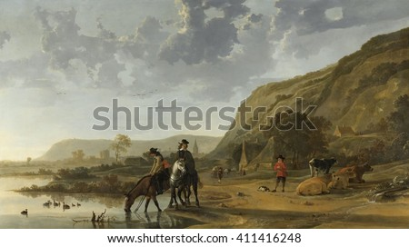 River Landscape with Riders, by Aelbert Cuyp, 1653-57, Dutch painting, oil on canvas. Dutch officers halt at the river, and water their horses next to a herder and his resting cattle, along the River