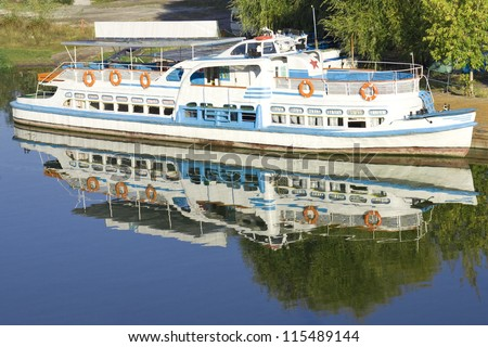 river motor ship in dock