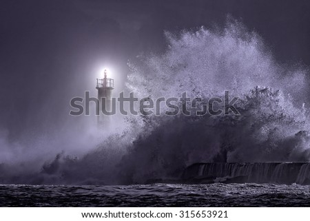 River mouth lighthouse seeing big stormy sea wave at night