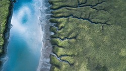 River patterns and Bridges, Tasmanian Landscape Australia from the Air