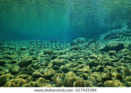 River pebbles underwater on the riverbed with clear freshwater and sunlight through water surface, natural scene, Dumbea, New Caledonia, south Pacific
