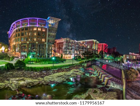 River Place along Reedy River in Downtown Greenville South Carolina SC.